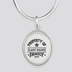 Family Property Silver Oval Necklace