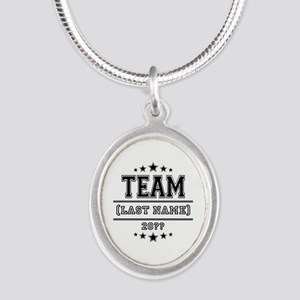 Team Family Silver Oval Necklace
