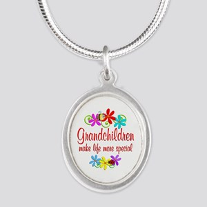 Special Grandchildren Silver Oval Necklace