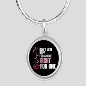 Fight for a Cure Silver Oval Necklace