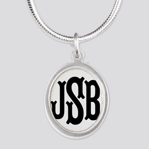Monogram Initials Personalize Silver Oval Necklace