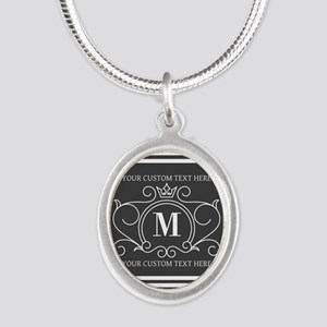 Gray Victorian Stripes Person Silver Oval Necklace