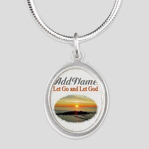 LET GO LET GOD Silver Oval Necklace