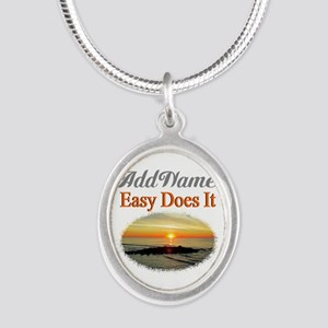 EASY DOES IT Silver Oval Necklace