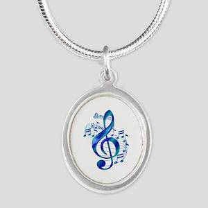 Blue Treble Clef Silver Oval Necklace