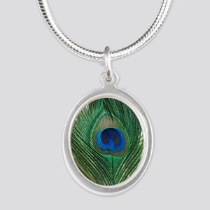 Green Apple Peacock Feather Silver Oval Necklace