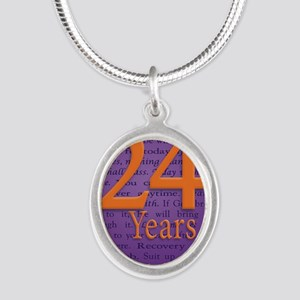 24 Year Recovery Birthday - M Silver Oval Necklace