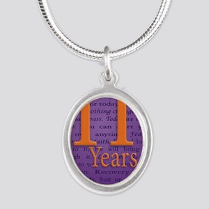 11 Year Recovery Birthday - Y Silver Oval Necklace