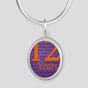 12 Year Recovery Birthday - Y Silver Oval Necklace