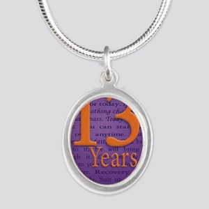 13 Year Recovery Birthday - Y Silver Oval Necklace
