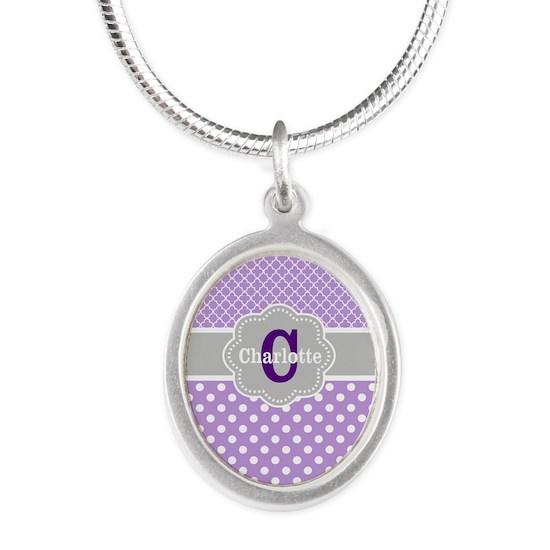 Purple Gray Dots Quatrefoil Personalized