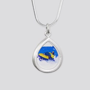 Yellow Snowmobile in Blizzard Edges Necklaces
