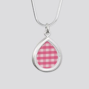 Gingham Checks Pink Silver Teardrop Necklace