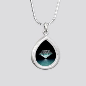 Aqua Diamond Silver Teardrop Necklace