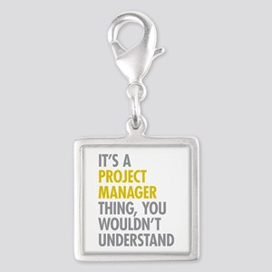 Project Manager Thing Silver Square Charm