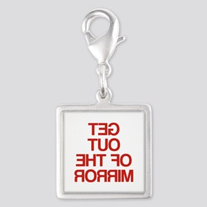 Get Out Of The Mirror Silver Square Charm