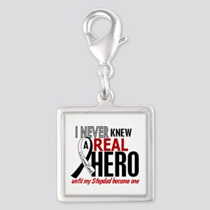 Carcinoid Cancer Real Hero 2 Silver Square Charm