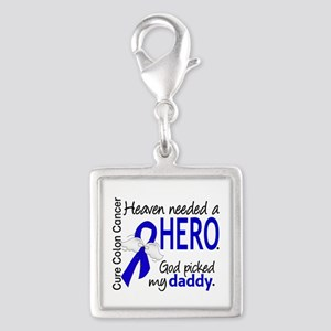 Colon Cancer HeavenNeededHero Silver Square Charm