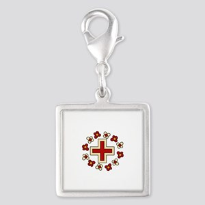 Floral Red Cross Charms