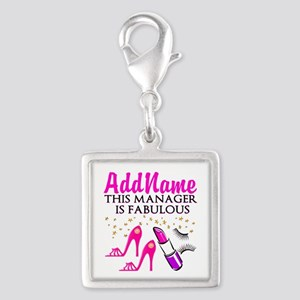 PERSONALIZE MANAGER Silver Square Charm