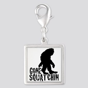 Gone squatchin print 2 Silver Square Charm