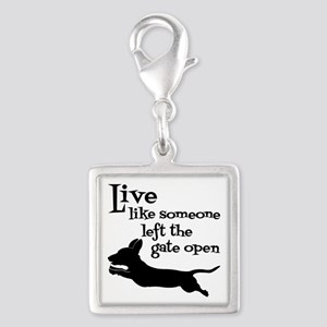 OPEN GATE! Silver Square Charm