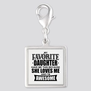 Favorite Daughter Silver Square Charm