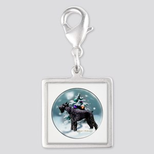 Giant Schnauzer Christmas Silver Square Charm