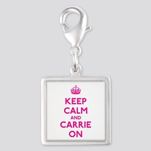 Keep Calm and Carrie On Silver Square Charm