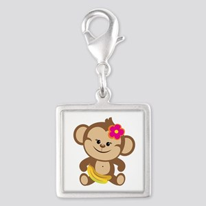 Girl Monkey Silver Square Charm