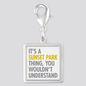 Sunset Park Thing Silver Square Charm