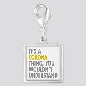 Corona Queens NY Thing Silver Square Charm