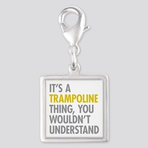 Its A Trampoline Thing Silver Square Charm