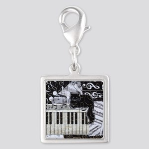 keyboard-sitting-cat-ornament Silver Square Charm