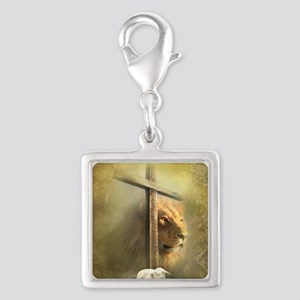 Lion of Judah, Lamb of God Silver Square Charm