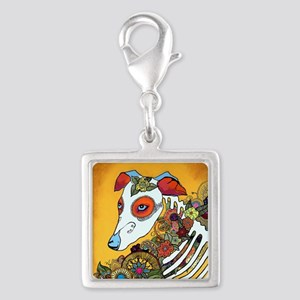 Dia Los Muertos, day of the d Silver Square Charm