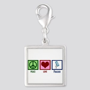 Peace Love Frasier Silver Square Charm