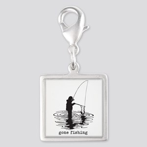 Personalized Gone Fishing Silver Square Charm