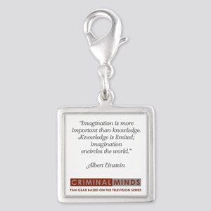 EINSTEIN QUOTE Silver Square Charm