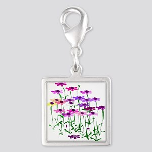 Wildflowers Silver Square Charm
