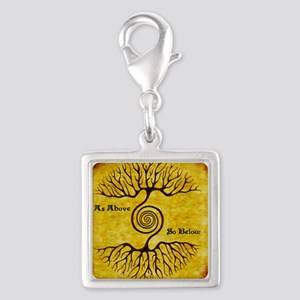 As Above So Below Color Print Silver Square Charm