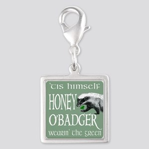 Honey OBadger Silver Square Charm