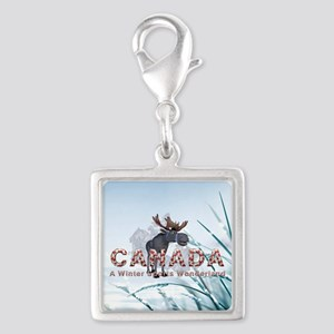 Canada Winter Sports Silver Square Charm