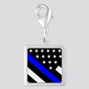 Police Flag: Thin Blue Line Silver Square Charm