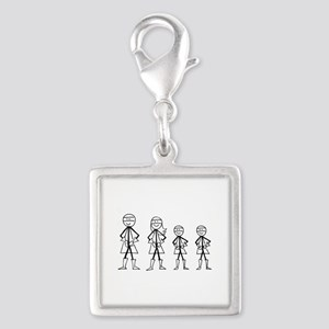 Super Family 2 Boys Silver Square Charm