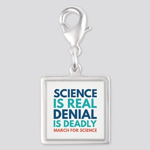 Science Is Real Silver Square Charm