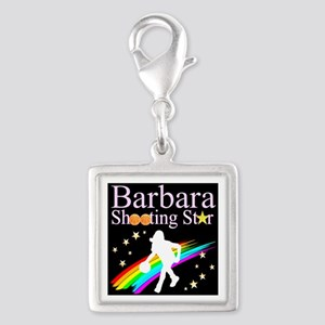 BASKETBALL PLAYER Silver Square Charm