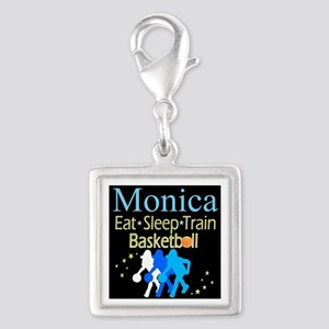 PLAY BASKETBALL Silver Square Charm