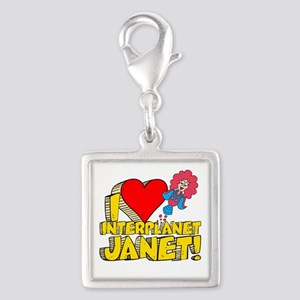 I Heart Interplanet Janet! Silver Square Charm