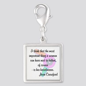 d423c104a2719 Hairstylist Humor Silver Square Charms - CafePress
